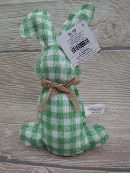 New GREEN Burlap Like Gingham Buffalo Easter Bunny Bow Cotton Tail Spring Decor
