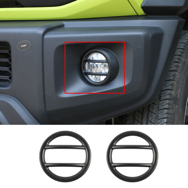 2PCS Black Aluminum Exterior Fog Light Lamp Cover FIT For Suzuki Jimny 2019 2020