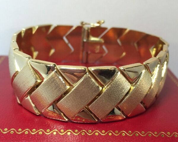 Rare 14k Yellow Gold Panther Wheat Braided Chain Wide 585 Link 30Gm Bracelet 7
