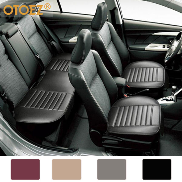 Universal Leather Car Seat Cover Full Surround Front Rear Back Cushion Protector