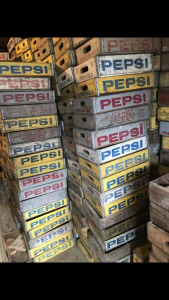 500 Vintage Pepsi Cola Wood Soda Pop Crates Cases Variety Mixed Color Pallets