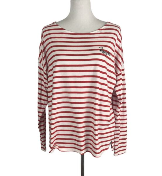 H & M Womens Shirt Size L Large Red White Striped Romantic Long Sleeve Nautical $13.41