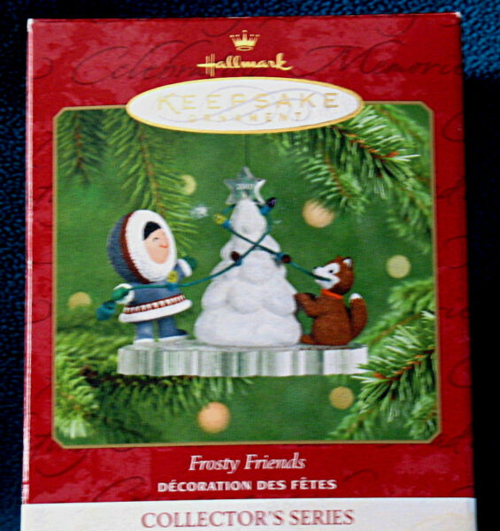 Hallmark 2001 FROSTY FRIENDS #22 in this Ornament Series Decorating Snow Tree