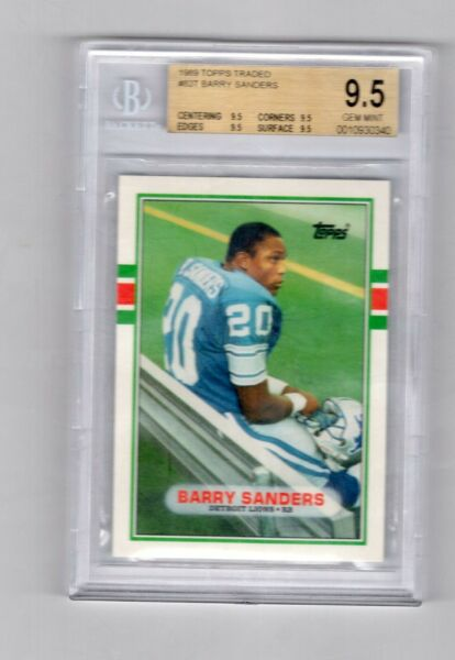 1989 Topps Traded Barry Sanders Lions Rookie BGS 9.5 GEM MINT (W6)