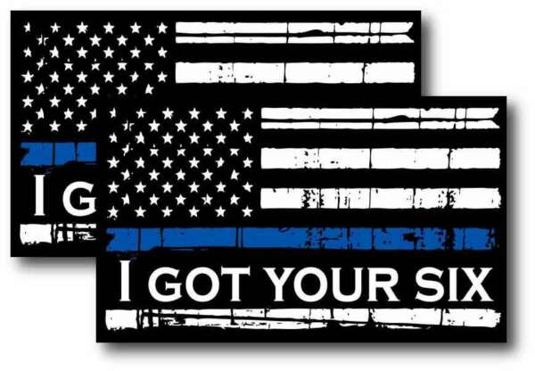 2X REFLECTIVE Thin Blue Line Decal Tattered Flag I GOT YOUR SIX Decal Var Sizes $6.69