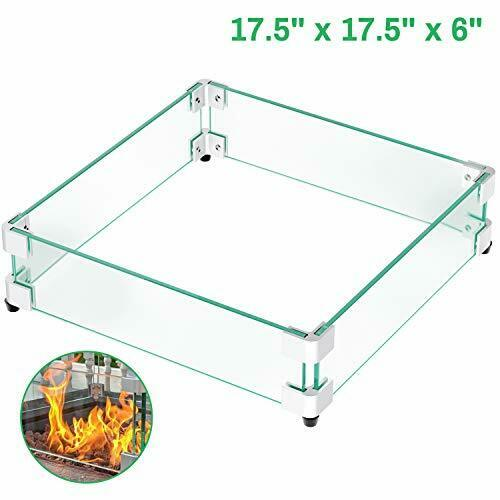 GASPRO 17.5quot; Square Fire Pit Glass Wind Guard Clear Tempered Glass Wind Guard...