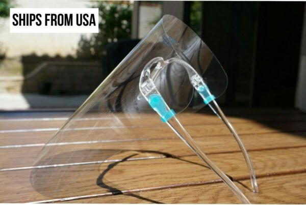 Clear Plastic Face Shield Safety Protection With Clear Glasses Frame Reusuable $7.39