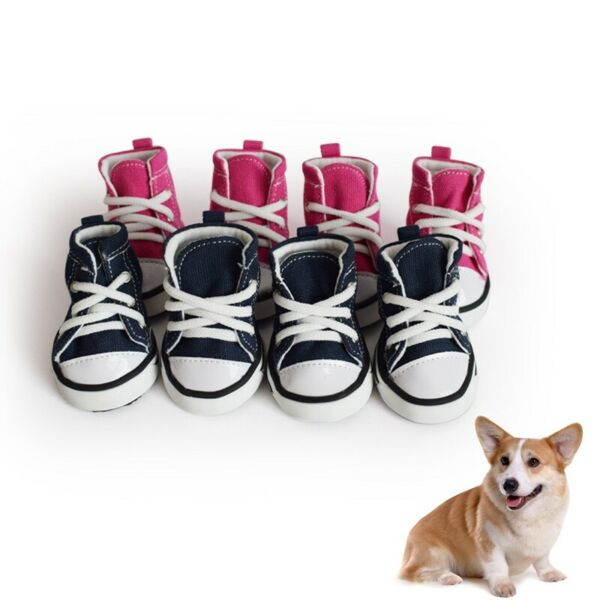4pcs Pet Dog Boots Puppy Denim Sports Anti slip Shoes Sneakers For Small Dogs $12.99