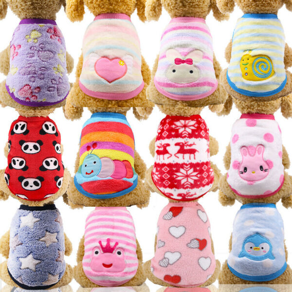Cartoon Small Dog Clothes Pet Puppy Cute Vest Dog Cat Apparel 17 Color XXS XXL $5.99