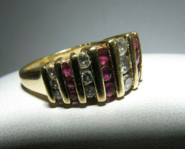 14k Gold Diamond and Ruby Dinner Ring Size 6.25 Cost 1600 SAVE 1100. #R659 $521.55