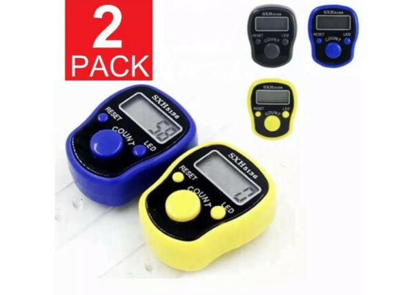 2 Pack DIGITAL LCD ELECTRONIC FINGER RING HAND TALLY COUNTER TASBEE TASBIH