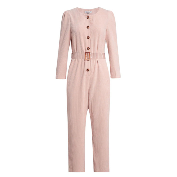 Women#x27;s Pink Corduroy Belted Jumpsuit Boiler Suit Overall Size Small S $24.87