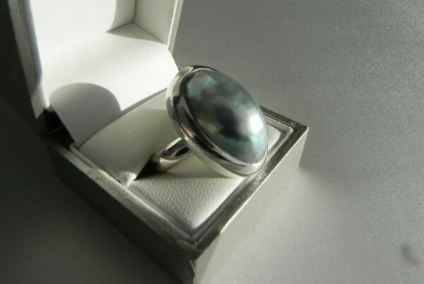 ✨GORGEOUS✨ 14g sterling silver 925 blue Osmena Nautilus shell statement ring Q.5