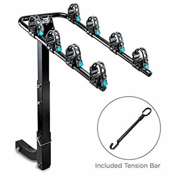 RaxGo Hitch Mounted 4 Bike Rack Carrier Sturdy Bicycle Rack with Tension Bar $84.99