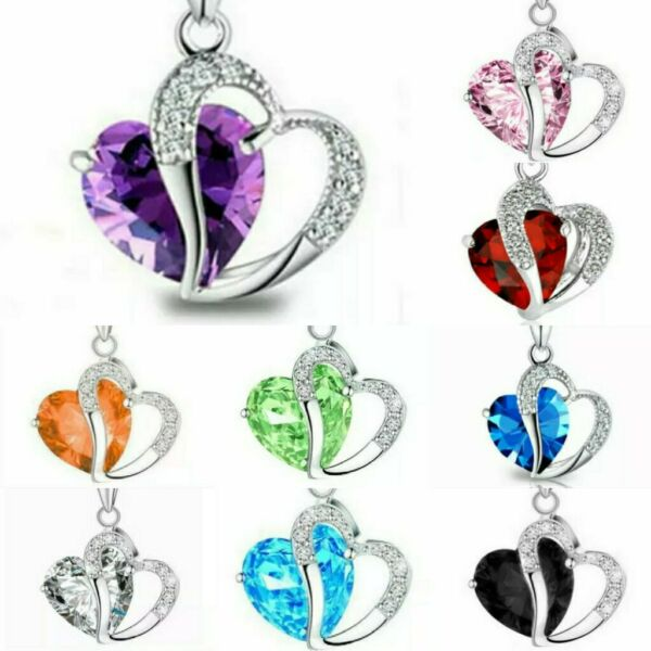 Fashion Womens Heart Crystal Rhinestone 925 Silver Chain Pendant Necklace Blue
