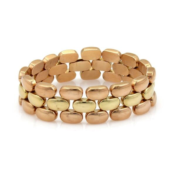 Retro 18k Rose & Yellow Gold 3 Rows Panther Link 18mm Wide Bracelet