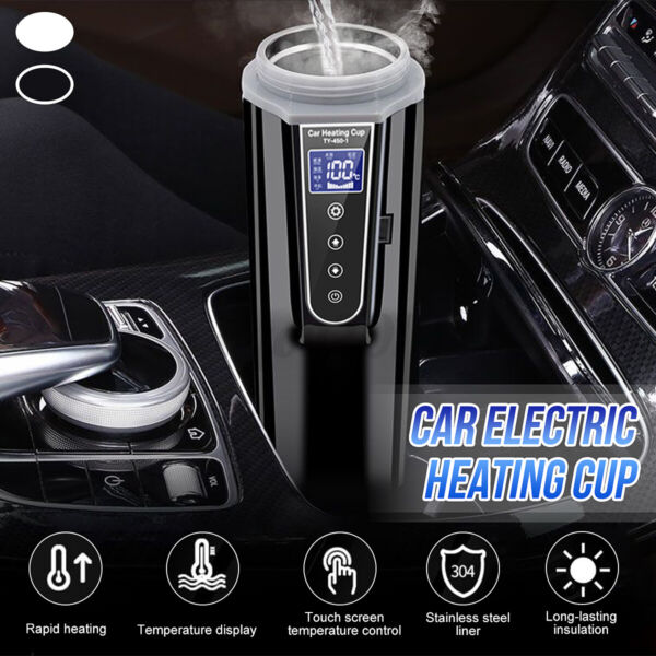 450ml 12V~24V Stainless Steel Car Heating Cup Electric Water Cup LCD Display