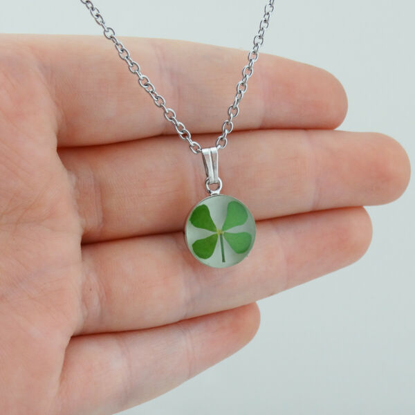Real Mini Four Leaf Clover Charm Necklace - Stainless Steel Luck Irish - White