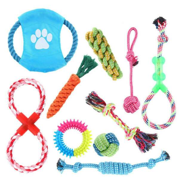 Set of 10 Dog Chew Squeaky Toys Cotton Rope Puppy Toy Variety Dog Toys Gift Set $13.69