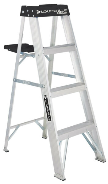 Aluminum Step Ladder 4 Ft 250 Lb Capacity Type 1 Home Stepladder With Shelf Tray