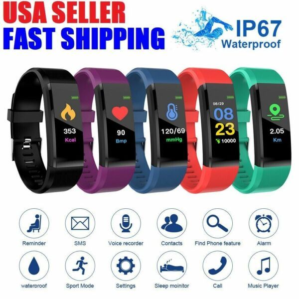 Fitness Smart Watch Activity Tracker Heart Rate Women Men Health iPhone Android $8.95