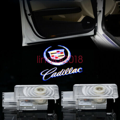 Cadillac 2pcs LED Light Logo Projector Emblem Shadow Light Door Welcome Lights