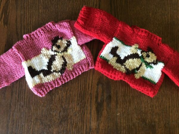 2 Hand Knit Sweaters for a Bear Doll Teddy Bear Design made in USA