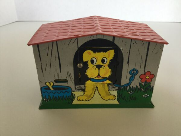 Vintage Tin Litho Toy Mechanical Bank Dog House Dog Sticks Out Tongue For Coins $39.95