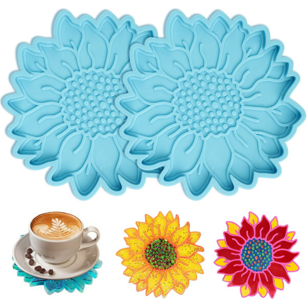 2X DIY Silicone Sunflower Coaster Resin Molds Epoxy Casting Handmade Craft Mould $9.98
