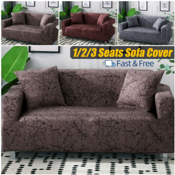 1 2 3 Seats Stretch Spandex Chair Sofa Couch Cover Elastic Slipcovers For Decor $22.63