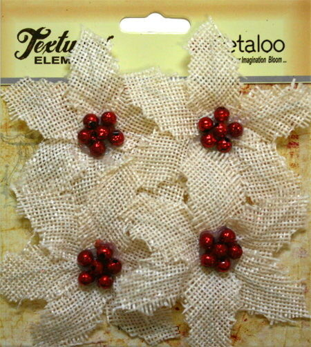 BURLAP Textured FABRIC Poinsettias IVORY Red Centre x 4 flower Pk 70mm Petaloo