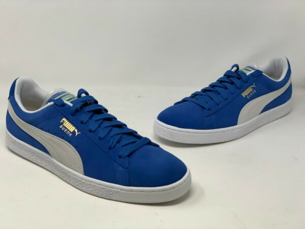 [352634-64] NEW MEN'S PUMA SUEDE CLASSIC+ OLYMPIAN BLUE WHITE PM46 SIZE 8.5
