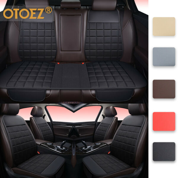 Universal Car Seat Cover Linen Leather Pad Front Back Mat Chair Cushion Protect $23.89