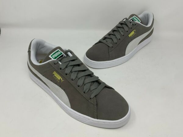 PUMA SUEDE CLASSIC SNEAKERS 352634 66 STEEPLE GRAY-WHITE MEN SIZE 9.5