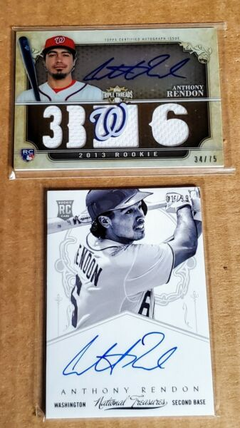 (2) 2013 Anthony Rendon Rookie Autographed Baseball Cards