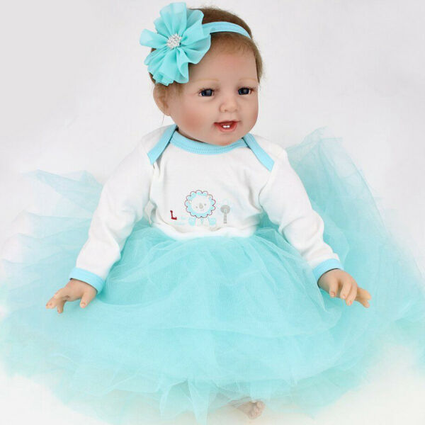 22quot; Reborn Baby Dolls Silicone Vinyl Real Lifelike Newborn Girl Toddler Doll US