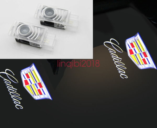 Cadillac 2x LED Light Logo Projector Emblem Shadow Light Door Welcome Lights