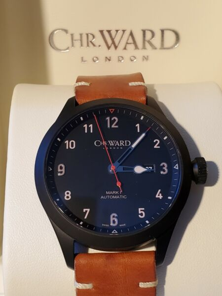 Christopher Ward C8 Flyer Mark 1 Automatic Watch 44mm Case with Black PVD $425.00