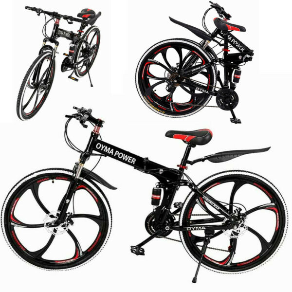 Folding Bike Mountain Bike 26quot; 21 Speed Double Disc Brake Bicycle MTB Bikes $245.99