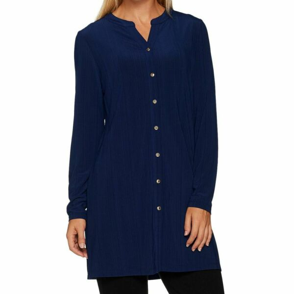Susan Graver Size 3X Navy Ribbed Novelty Knit Button Front Cardigan