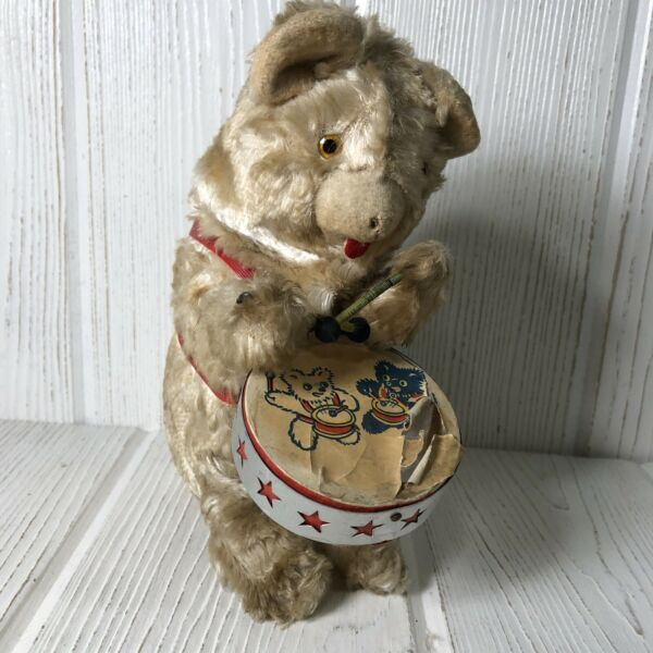 Antique Vintage Wind Up Teddy Bear Beating Drum  Working 8""