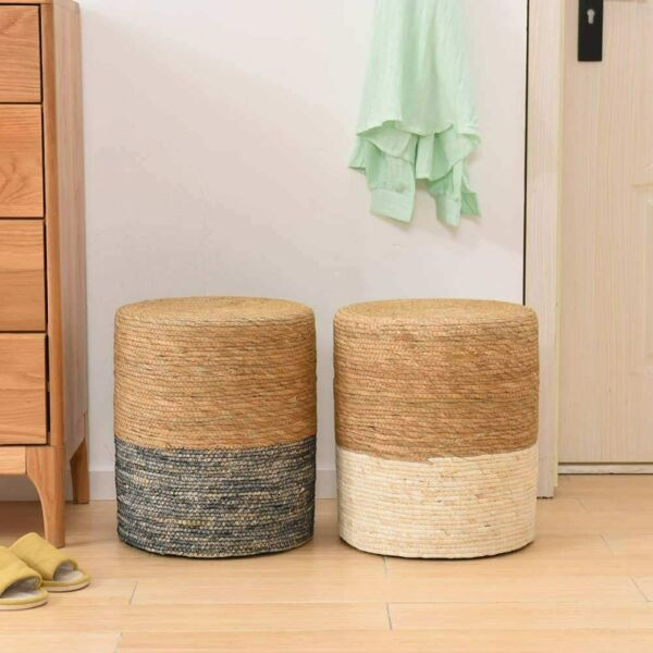 Solid Wood Natural Seagrass Footstool Hand Weaving Ottoman for Living Room $26.99