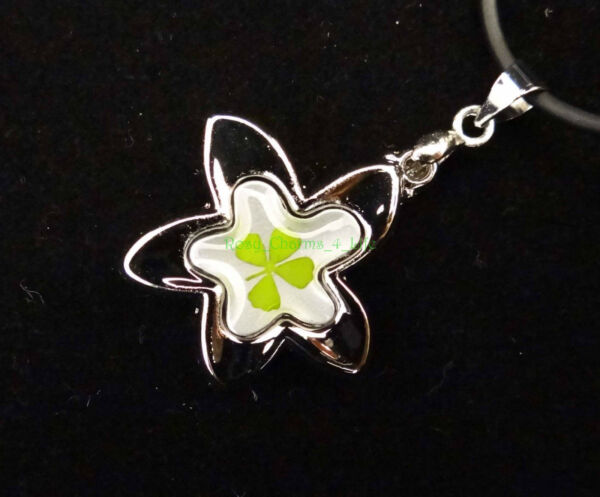 Real four leaf clover pendant with sweet flower shape cord 19