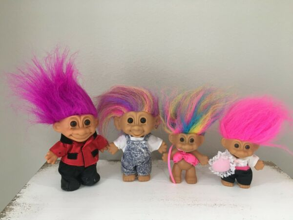 Vintage Good Luck Russ Rainbow Hair Troll Dolls Lot in Outfits- Ring Bearer
