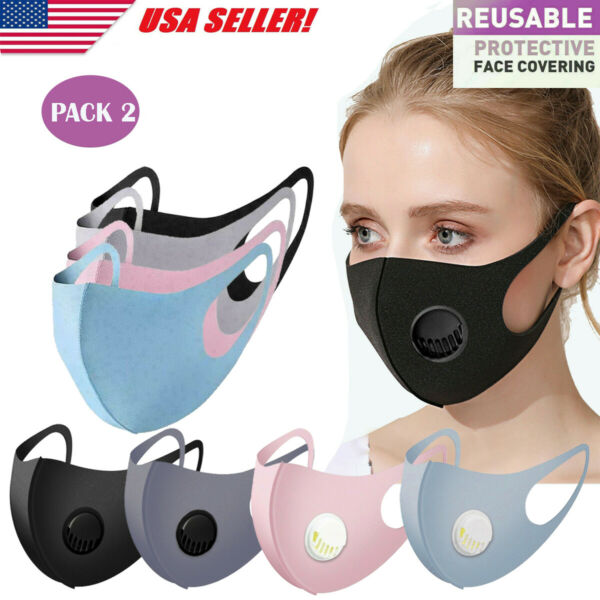 Face Mask Reusable Washable Adult Soft Cloth Breathable With Breathing Valve $6.99