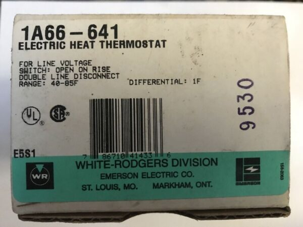 WHITE RODGERS 1A66 641 Electric Heat Wall Thermostat Line Voltage 40 85F w Leads $11.99