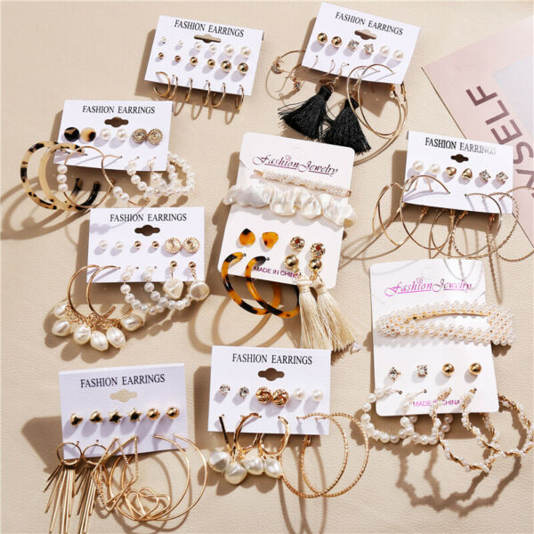 26 Pairs Fashion Women Earrings Set Rhinestone Crystal Pearl Ear Stud Jewelry