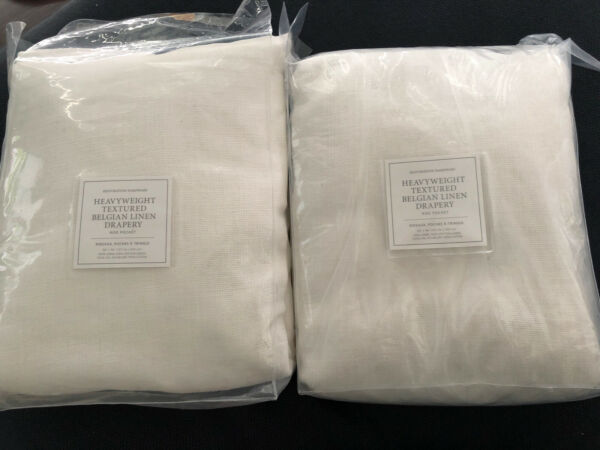 Set 2 Restoration Hardware Heavyweight Textured Belgian Linen Panels Optic White