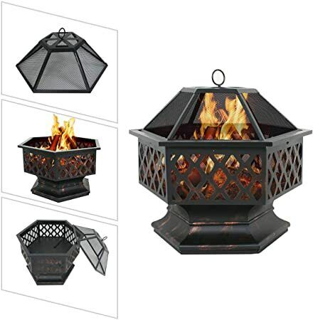Octagon Shaped Fire Outdoor Pit Oil Rubbed Bronze Steel Backyard 24in poolside