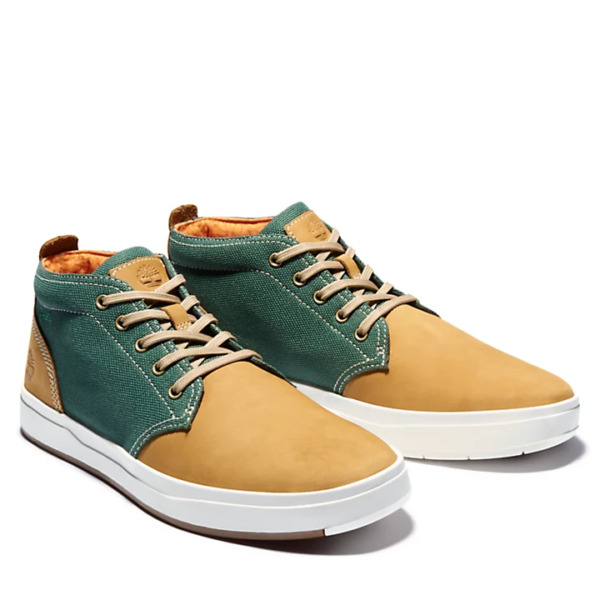 TIMBERLAND MEN#x27;S DAVIS SQUARE MIXED MEDIA CHUKKA BOOT WHEAT NUBUCK GREEN $47.99